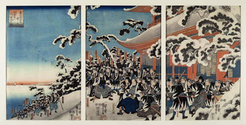 Gishi honmō o tasshite Sengoku-ji e hikitori katame no zu [Having Achieved Their Goal, the Faithful Samurai Withdraw to Sengoku-ji Temple and Assemble There]